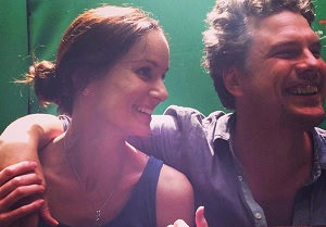 Johannes on set with Sarah Wayne Callies