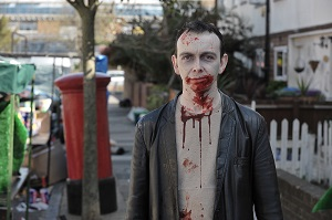 James Moran on set of Cockneys Vs Zombies-2