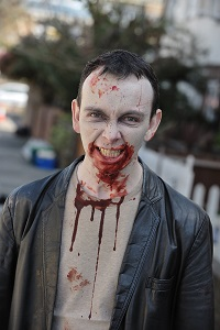 James Moran on set of Cockneys Vs Zombies-4