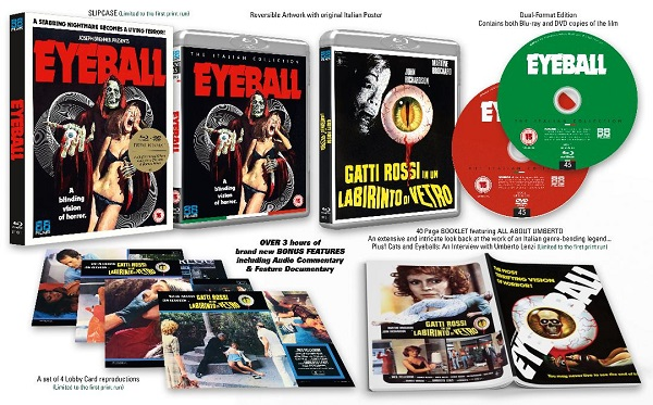 Cover image and contents of 88 Films release Eyeball