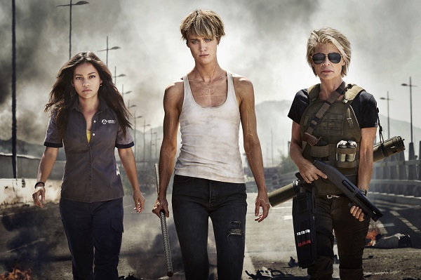 Official First Look at the Women of the New TERMINATOR (from left to right) Natalia Reyes as �Dani Ramos,� Mackenzie Davis as �Grace,� Linda Hamilton as �Sarah Connor�